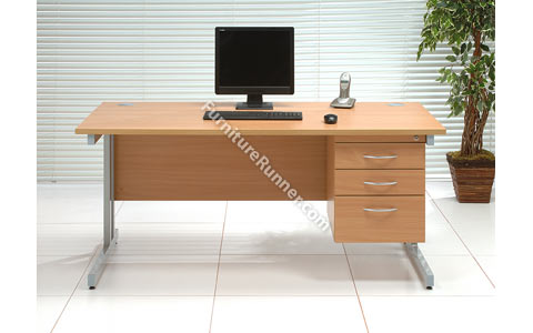 Trexus Contract 3 Drawer Fixed Pedestal Desks - Silver Legs