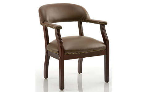 Dynamic Baron Visitor Chair Brown Leather With Arms