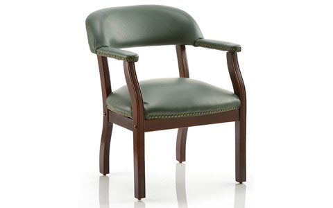 Dynamic Baron Visitor Chair Green Leather With Arms