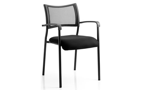 Dynamic Brunswick Visitor Black Fabric Chair With Arms Black Frame