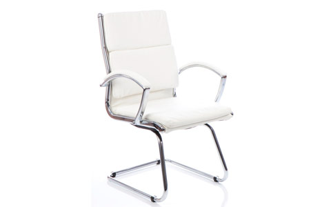 Dynamic Classic Visitor Cantilever Chair White With Arms