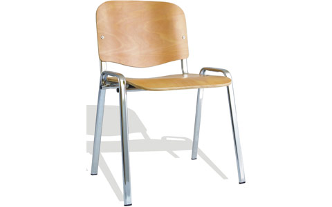 Dynamic ISO Visitor Chair Beech Chrome Frame