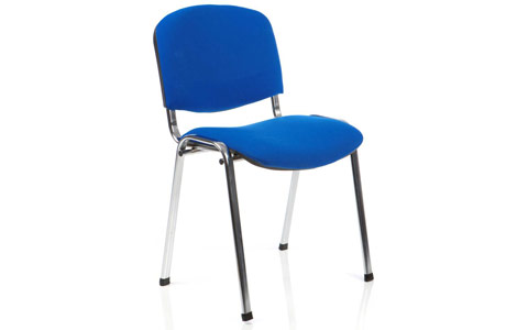 Dynamic ISO Visitor Chair Blue Fabric Chrome Frame
