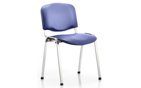 Dynamic ISO Visitor Chair Blue Vinyl Chrome Frame