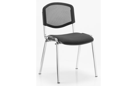 Dynamic ISO Visitor Chair Black Mesh Chrome Frame