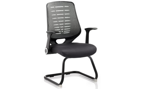 Dynamic Relay Visitor Cantilever Airmesh Seat Silver Back With Arms