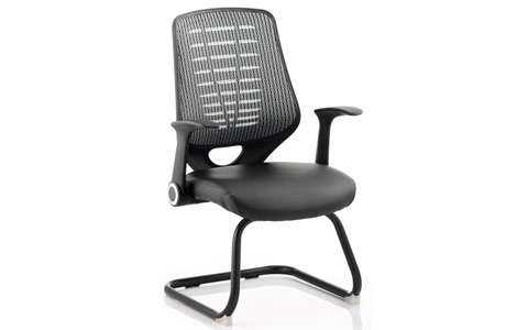 Dynamic Relay Visitor Cantilever Leather Seat Silver Back With Arms