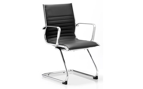 Dynamic Ritz Visitor Cantilever Chair Black Bonded Leather With Arms