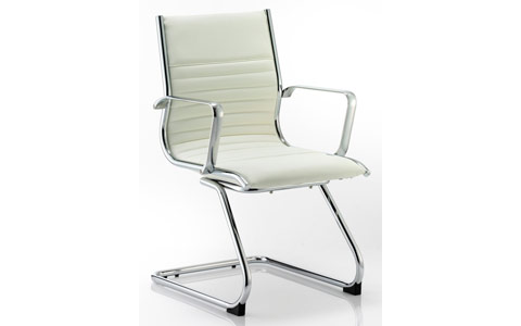Dynamic Ritz Visitor Cantilever Chair Ivory Bonded Leather With Arms