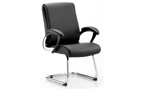 Dynamic Romeo Visitor Cantilever Chair Black Leather With Arms