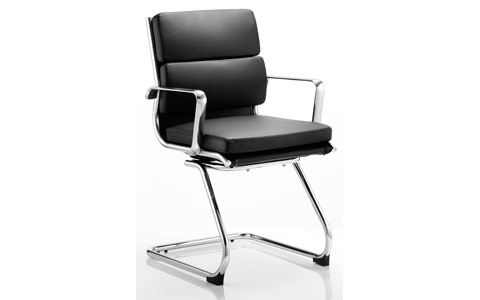 Dynamic Savoy Visitor Cantilever Chair Black Bonded Leather With Arms