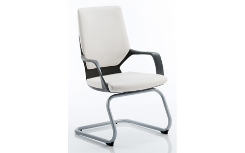 Dynamic Xenon Visitor Cantilever Black Chair White Leather With Arms