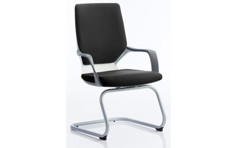 Dynamic Xenon Visitor Cantilever White Chair Black Fabric With Arms