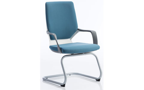 Dynamic Xenon Visitor Cantilever White Chair Blue Fabric With Arms