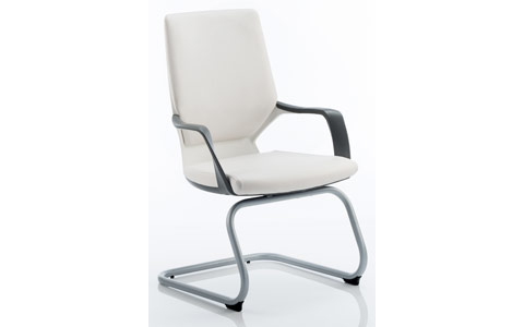 Dynamic Xenon Visitor Cantilever White Chair White Leather With Arms