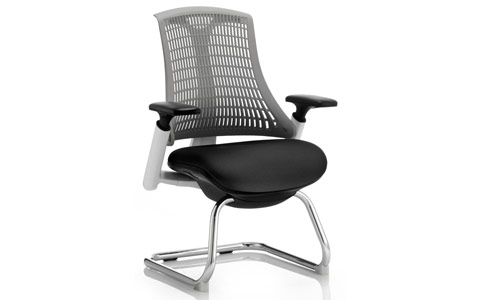 Dynamic Flex Visitor Cantilever White Frame Black Fabric Seat Grey Back With Arms