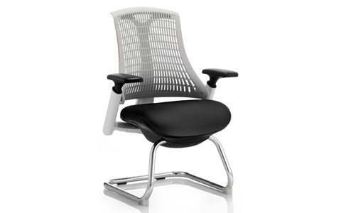 Dynamic Flex Visitor Cantilever White Frame Black Fabric Seat Moonstone White Back With Arms