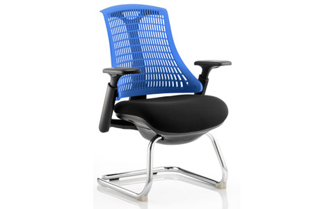 Dynamic Flex Visitor Cantilever Chair Black Frame Black Fabric Seat With Blue Back With Arms