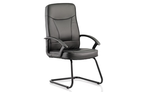 Dynamic Blitz Visitor Cantilever Black Chair Black Bonded Leather With Arms