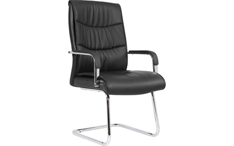 Dynamic Carter Black Luxury Faux Leather Cantilever Chair With Arms