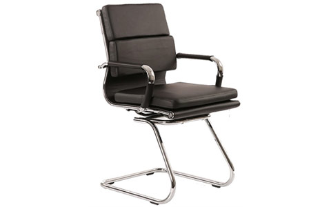 Dynamic Hawkes Cantilever Black Leather Padded Chair With Arms