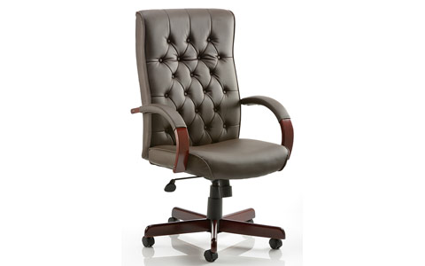 Dynamic Chesterfield Executive Chair Brown Leather With Arms