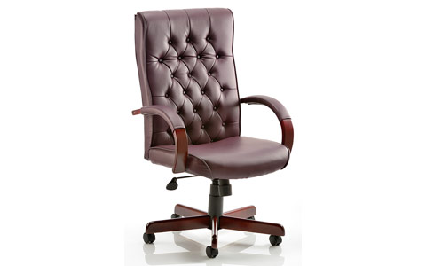 Dynamic Chesterfield Executive Chair Burgundy Leather With Arms