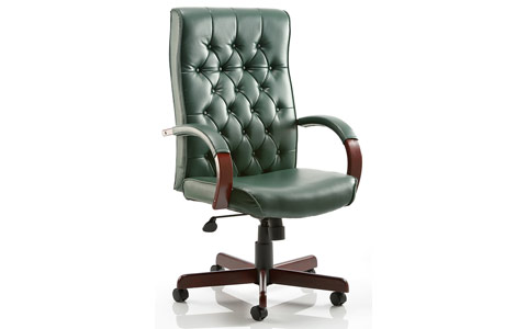Dynamic Chesterfield Executive Chair Green Leather With Arms