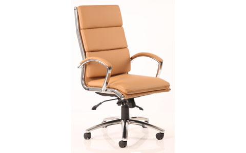Dynamic Classic Executive Chair Tan With Arms High Back