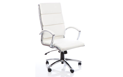Dynamic Classic Executive Chair White With Arms High Back