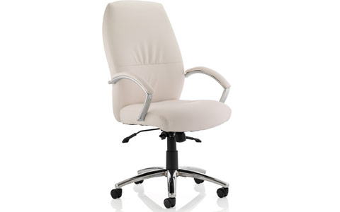Dynamic Dune Executive Chair White Bonded Leather High Back With Arms