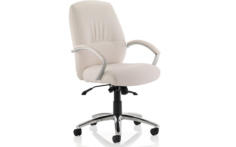 Dynamic Dune Executive Chair White Bonded Leather Medium Back With Arms