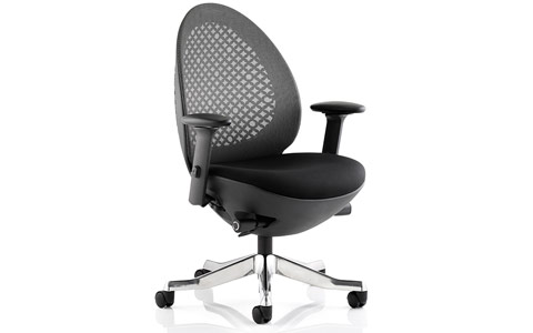 Dynamic Revo Task Operator Chair Black Shell Charcoal Mesh With Arms