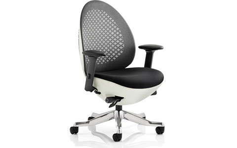 Dynamic Revo Task Operator Chair White Shell Charcoal Mesh With Arms