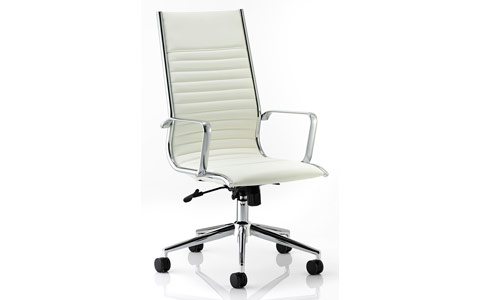 Dynamic Ritz Executive Chair Ivory Bonded Leather High Back With Arms