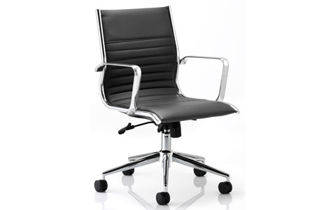 Dynamic Ritz Executive Chair Black Bonded Leather Medium Back With Arms