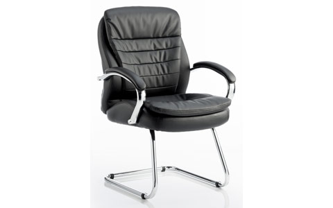 Dynamic Rocky Visitor Cantilever Chair Black Leather High Back With Arms