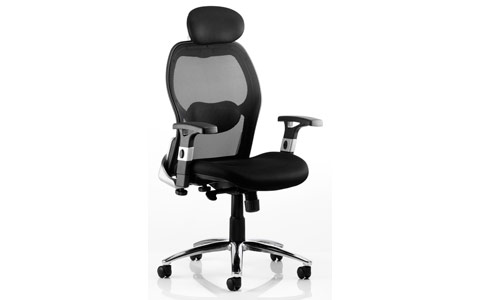 Dynamic Savoy Executive Chair Black Airmesh Seat With Mesh Back With Arms