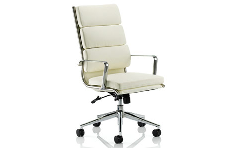 Dynamic Savoy Executive Ivory Bonded Leather High Back With Arms