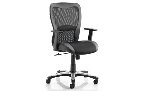 Dynamic Victor Executive Chair Black Leather Black Mesh With Arms