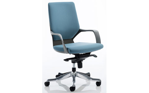 Dynamic Xenon Executive Black Chair Blue Fabric Medium Back With Arms