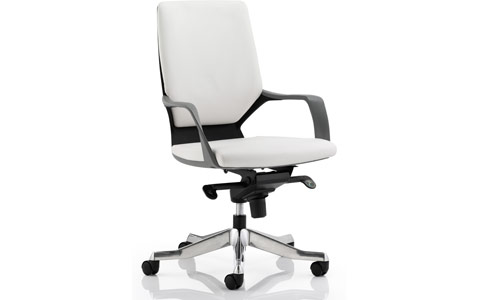 Dynamic Xenon Executive Black Chair White Leather Medium Back With Arms