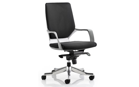 Dynamic Xenon Executive White Chair Black Fabric Medium Back With Arms