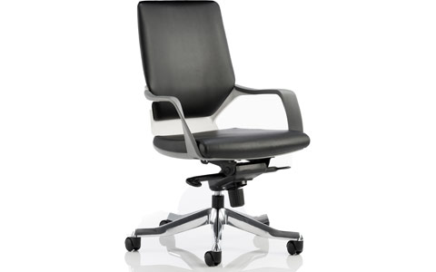 Dynamic Xenon Executive White Chair Black Leather Medium Back With Arms