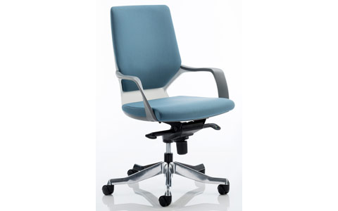 Dynamic Xenon Executive White Chair Blue Fabric Medium Back With Arms