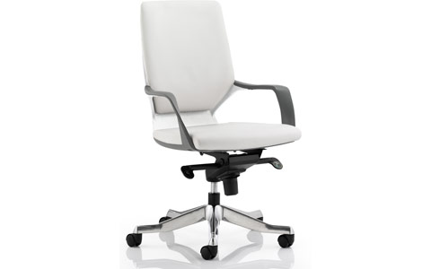 Dynamic Xenon Executive White Chair White Leather Medium Back With Arms