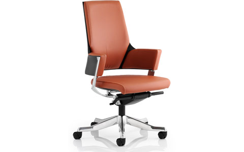 Dynamic Enterprise Executive Chair Tan Bonded Leather Medium Back With Arms