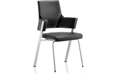 Dynamic Enterprise Visitor Chair Black Leather With Arms