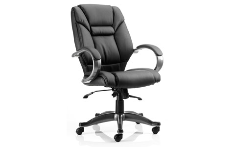 Dynamic Galloway Executive Chair Black Leather With Arms