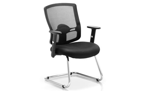 Dynamic Portland Visitor Cantilever Chair Black Mesh With Arms